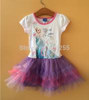 New designs Free shipping children GIRS Frozen  princess anna elsa short sleeves TUTU dress summer  PURPLE high quality