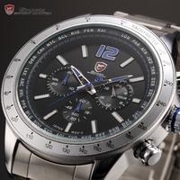 Shark 24 Hours Display Chronograph Luminous Black Blue Clock Full Steel Band Relogio Sport Military Wrist Men Quartz Watch/SH318