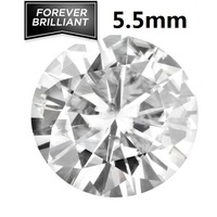 FOREVER BRILLIANT Certified 0.6 Carat  White Color Loose Moissanite Stones Round Brilliant Cut 5.5mm VVS F-G Colorless