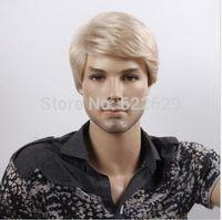 Kanekalon 35cm Short Blonde Synthetic Straight Men's Cool Hair Fashion Wig Kanekalon Fiber no lace Hair wigs Free shipping