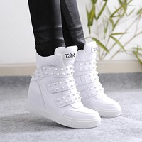 2015 spring increases genuine leather  wedges shoes rivet female  thick-soled   casual shoes sneakers