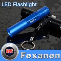 Foxanon Brand Bule Aluminium Mini Portable LED Torch Flashlight Handheld Light Lamp 3W 300LM CREE Waterproof lighting 1Pcs/lot