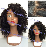 Stock! Top Quality 6a 1b# 100% virgin hair afro curl brazilian hair front lace wig for black women free shipping