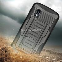 For Google LG Nexus 4 E960 Black Hybrid Future Armor Impact Hard Cover Case Holster belt clip Free shipping