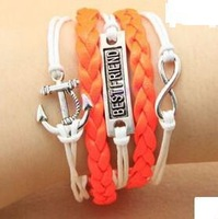 SL0100 Hot New Fashion Wholesales Best Friend Anchors Infinity Multilayer Leather Bracelet Accessories Jewelry for Women Bangle