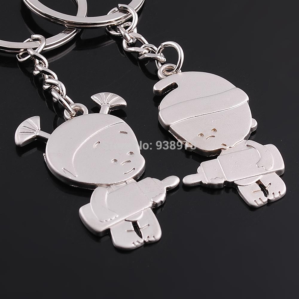 Creative Christmas Gift Alloy Cute Boy Girl Kids KeyChain Novelty Wedding Gift Lover Couple Keychain(China (Mainland))
