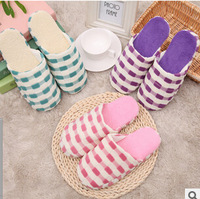Men Women Soft Household cotton slippers Warm Simple Plaid Indoor Slippers House Home Anti-slip Shoes Gift