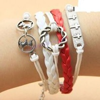 SL0102 Hot New Fashion Wholesales Circle Dog Infinity Multilayer Leather Bracelet Accessories Jewelry for Women Bangle