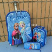 Retail Frozen 3D Design Trolley Bags/Grils Princess Elsa Anna Luggage+Pencil Bag Set/Children Travel Luggage Bags,3 Pcs Suit