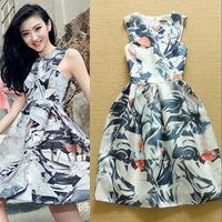 High Quality 2015 New Fashion Spring and Summer Printing ink graffiti temperament dress