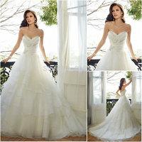 Fantastic Romantic Ball Gown Off Shoulder Beaded Corset Ruffles Organza Backless Wedding Dress 2015