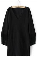 2015 New Women Europe and America Fashion Solid Color Long Sleeve V-Neck Dress Black Tassel Dress#QJJ394