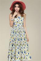 New 2014 Hot Bohemain Women Long Dress Chiffon Print O Neck Sleeveless Natural Color Pleated Slim Fresh Beach Holiday Dress