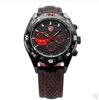 2015 brand Watch SHARK 6 Hands Date Day Stainless Steel Case Genuine Leather Strap Black Red Quartz Wrist Race Men's Sport Watch