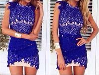 GEQ867C 2015 Spring New Fashion Women Casual Dress Plus Size Irregular Lace Gauze Party Dress