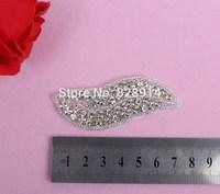 5pcs/lot New Design Hot Selling Luxury Leaf Design Wedding Dress Sash Rhinestones Applique Crystal Applique