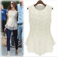 New 2014 Desigual Women White Lace Blouses Sexy Plus Size Crochet Lace Tops Women Blusa Renda Sleeveless Shirts S-5XL