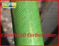 1Roll 1.52X20M Green Colorful 2D carbon fiber vinyl film with bubble free Colorful 2D carbon fiber car sticker free shipping TTT