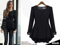 2015 Spring antumn blouse ladies long sleeve O neck zip casua dress pullovers women clothing t shirt 2color Plus size XL-5XL