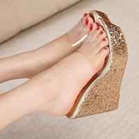 2015 summer new fashion transparent golden sequins Women sandals fish head high heels wedge sandals Women slippers