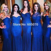 2014 Beautiful Mermaid Royal Blue Tule Bridesmaid Dress for Wedding Prom Dress Women Dress