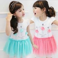 Cartoon Pure Cotton Girl Princess Dress Summer Korean New Arrival 2015 Children Gauze Dress Smurfette Kids Clothing TR47