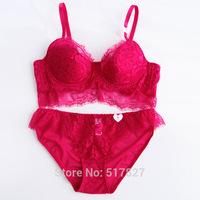 very sexy bra set lace padded push up bra brief set red pink women lingerie wholesale women underwear