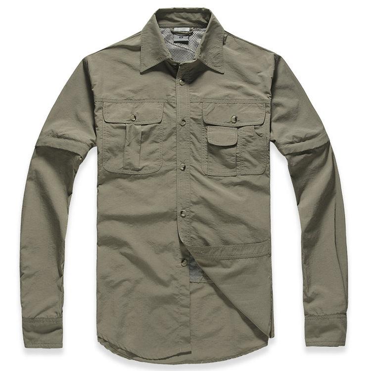 2014 TITANIUM OMNI-SHIELD Brand Hiking Shirt Removable Quick Dry Breathable UPF50+ Summer Hiking Camping Fishing Free Shipping(China (Mainland))
