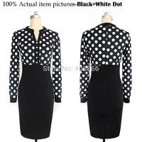 2015 New Womens V-Neck Vintage Slim White Black Polka Dot Dresses With Knee-length Long Sleeved Package Hip dresses