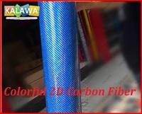 1Roll 1.52X20M Colorful 2D carbon fiber vinyl film with bubble free Blue Colorful 2D carbon car sticker free shipping TTT