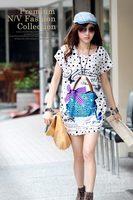 Women t-shirt fashion cartoon bag print medium-long short-sleeve A13009