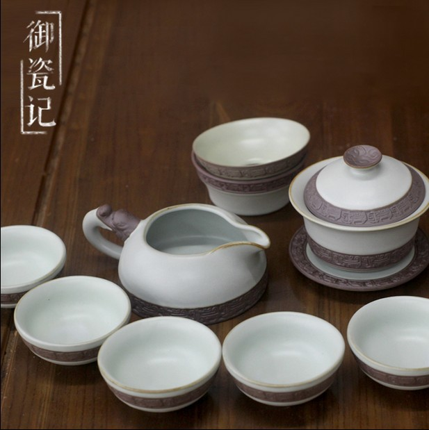 Chinese porcelain tea set deihua pottery that formed of nature crackled porcelain
