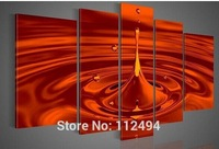 100% hand painted  oil painting on canvas pictures frame Red sun water droplets home decoration wall art modern paintings 5pcs