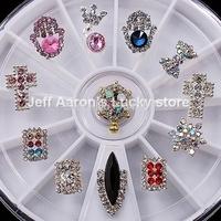 12PCS Metal Nail Art Glitter Rhinestones Wheel Crystal Nail Decorations Design Tools Jewelry Accessories #10
