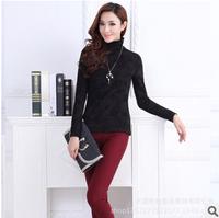 2015 winter/spring women basic shirt turtleneck print thick fleece long sleeve women t-shirt M-3XL plus size women tops G248Y