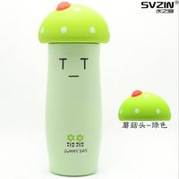 Green baby kids cartoon drinkware vacuum stainless steel liner water bottle mushroom child thermos bottle 300ml