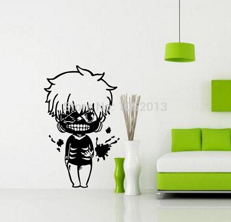 Cartoon Q Style Kaneki Ken Tokyo Ghoul Anime Sticker Wall Sticker Decal Poster 60*90 cm(China (Mainland))