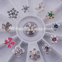 12PCS Metal Snowflake Nail Art Glitter Rhinestones Wheel Christmas Nail Decorations Design Tools Jewelry #09