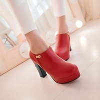 3 Colors Womens Ankle Metal Decor Zipped Chunky Platform High Top Pumps Shoes