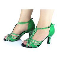Customized Heels Women's Satin Upper Ankle Strap Ballroom / Latin Dance Shoes With Rhinestone JYG829