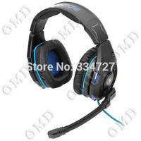 USB Gaming Headphones Headset w / Microphone - Black + Blue