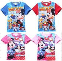 Retail 2015 fashion cartoon Mickey Minnie boys girls clothes short sleeve kids t shirt children tops tees for summer clothing