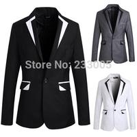 New Stylish 2014 Fashion Boy Patchwork Designs Men Blazer Slim Fit Casual Suits For Men High Quality Mens Blazers Jacket M-XXL