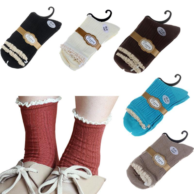 Sanwony New Women Crochet Lace Trim Bamboo fiber Knit Footed Leg Boot Socks Freeshipping(China (Mainland))