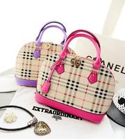 2014 bags fashion check women's handbag classic plaid shell  laptop messenger bag