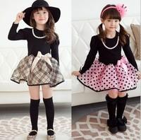 Autumn Girl Clothing Princess Dress The Classic British Grid Children Cosplay Dresses Long Sleeve Kids Tutu Dress WD280