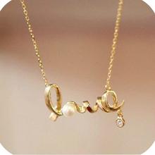 Hot Sale Unique Designer Fashion LOVE Letters Pendant With Gold Chain Necklace