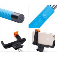 Adjustable Wireless Bluetooth Monopod Handheld Self Portrait Selfie Stick With Remote Shutter Function For Smartphones-Blue