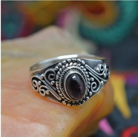 925 sterling silver jewelry handmade natural tourmaline ring (B11)