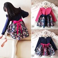 Vestido Meninas Festa Spring-Autumn Girls Flowers Printed Dress Long Sleeve Splicing Tunic Sweet Bow Princess Party Dress 3-11Y